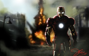 Wallpaper the explosion, people, Iron man, Iron Man, Robert Downey ml