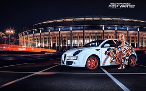 Wallpaper nfs, most wanted, Parking, blonde, Alfa Romeo, Mito, smotra, white