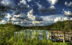 Wallpaper hdr, Gator Lake, the reeds, lake, pier, Florida, clouds, the sky, forest, USA
