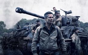 Picture Brad Pitt, Action, Men, Wallpaper, War, Tank, Shia LaBeouf, Travis, Year, Garcia, Movie, Film, 2014, …