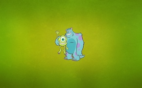 "Wallpaper minimalism, one-eyed, Monsters Inc, Cyclops, greenish background, James P. ""Sully"" Sullivan, Michael ""Mike"" Wazowski, horns, ..."
