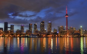 Picture lights, lights, reflection, Canada, Toronto, Canada, Toronto, reflection, Lake Ontario, lake Ontario