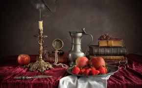 Picture apples, books, candle, necklace, strawberry, knife, dishes, still life, scissors