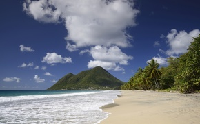Picture sand, beach, the sky, clouds, palm trees, mountain, The ocean