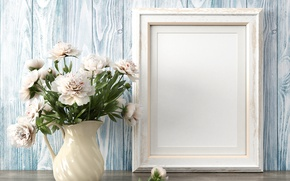 Picture Flowers, White, Vase, Template, Peonies