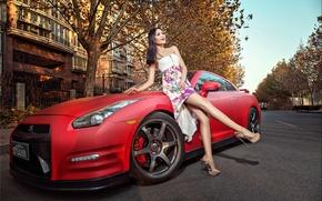 Picture machine, auto, girl, model, Asian, car, nissan GT-R, korean model