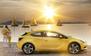Wallpaper romance, shore, coupe, yachts, Astra, water, astra, the girl and the guy, sails, gtc, opel, ...