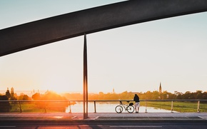 Picture river, bike, bridge, sunset, rider, horizon, meditation, contemplation