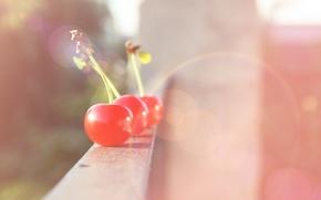Picture rays, light, cherry, glare, mood, berry, fruit, balcony, cherry