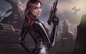 Picture gun, weapons, planet, ships, station, art, base, girl. back