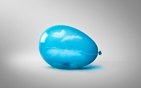 Picture sea, clouds, birds, ball, art, Ballon