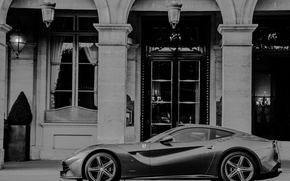 Picture b/W, supercar, ferrari, f12 berlinetta