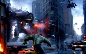 Picture the city, fire, building, robot, tank, helicopter, Hulk