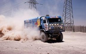 Picture sand, the fence, speed, dust, master, tower, truck, rally, rally, KAMAZ, kamaz, Dakar, dakar, redbull