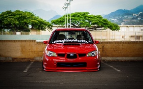 Picture turbo, red, wheels, subaru, japan, wrx, impreza, jdm, tuning, power, front, Subaru, sti, face, Impreza, ...