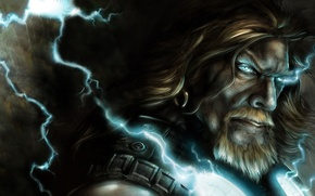 Picture fantasy, background, Thor, lighting, god, thunder, god of thunder