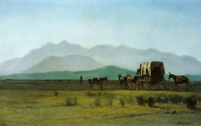 Picture picture, painting, painting, Albert Bierstadt, Surveyors wagon in the rockies