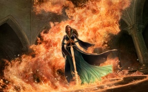 Picture girl, circles, castle, fire, flame, magic, sword, dress, fantasy, art, columns, arch