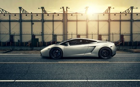 Picture auto, sunset, Lamborghini gallardo