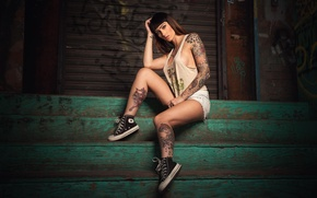 Picture girl, feet, sneakers, Mike, brunette, girl, tattoo, painting, model, tattoo, alternative, sleeve