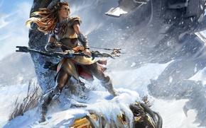 Picture fantasy, Girl, warrior, bow, art, arrows