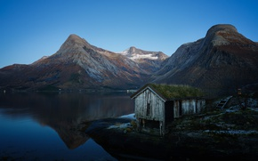 Picture mountains, lake, shed