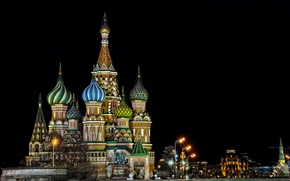 Picture night, lights, the building, lights, Moscow, St. Basil's Cathedral, architecture, dome