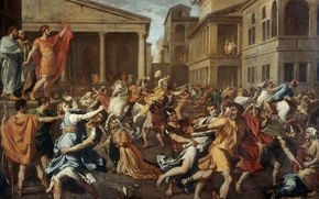 Picture Paris, oil, picture, The Louvre, canvas, French painter, Nicolas Poussin, The rape of the Sabine …