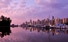 Picture clouds, the ocean, dawn, building, Marina, yachts, skyscrapers, Canada, Vancouver, Vancouver