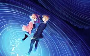 Picture the sky, water, girl, stars, night, anime, tears, art, glasses, guy, Kyoukai no Kanata, mirai …