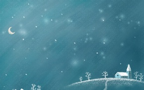 Wallpaper the moon, new year, night, winter night, snow, winter