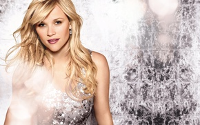 Picture girl, makeup, sequins, dress, actress, blonde, Reese Witherspoon, Reese Witherspoon