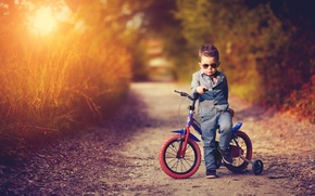 Picture road, sunset, nature, bike, the evening, boy, costume, child