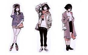 Picture girls, shoes, scarf, jacket, sketch, three, white background, cap, bag, cloak, Ilya Kuvshinov, fashionista