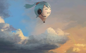 Picture clouds, hatsune miku, Art, Vocaloid, sky, Vocaloid, anime, Balloon