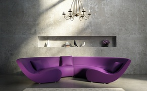 Picture flowers, sofa, wall, carpet, interior, pillow, chandelier