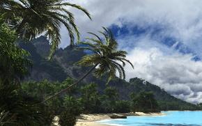 Picture sea, clouds, nature, tropics, palm trees, hills, shore, boat