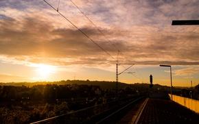 Picture Clouds, Sky, Station, Sun, Sunrise, Dawn, View, Stuttgart, Rail
