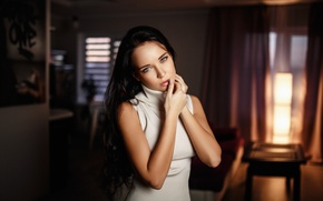 Wallpaper model, Denis Petrov, dress, makeup, brunette, bokeh, hairstyle, beauty, Angelina Petrova, Angelina Petrova, room