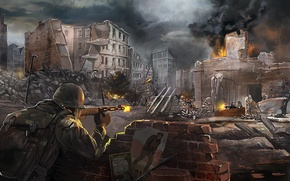 Picture the city, weapons, war, art, soldiers, ruins, battle, shots