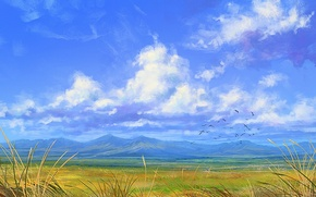 Picture clouds, mountains, birds, the wind, art, painted landscape