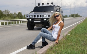 Picture road, greens, auto, the sky, look, girl, Girls, glasses, Hummer