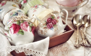 Picture figure, Cup, dishes, spoon