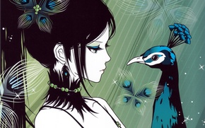 Picture look, girl, anime, art, tail, profile, peacock. bird