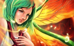 Picture girl, wings, art, green hair, naruto, fuu, rikamello