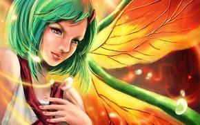 Picture girl, wings, art, green hair, naruto, fuu, rikamello