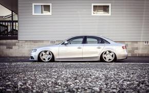 Picture Audi, Audi, profile, silver, side, metallic, stance