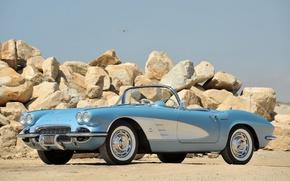 Picture auto, retro, stones, 1953, convertible, classic, chevrolet, corvette c1