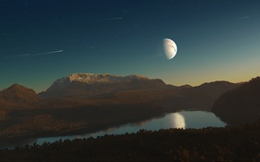 Picture comet, meteors, planet, the sky, satellite, river, forest