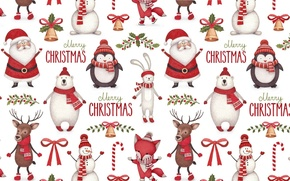 Picture background, holiday, texture, deer, New year, horns, penguin, candy, Santa Claus, bell, scarf, Bunny, bow, …